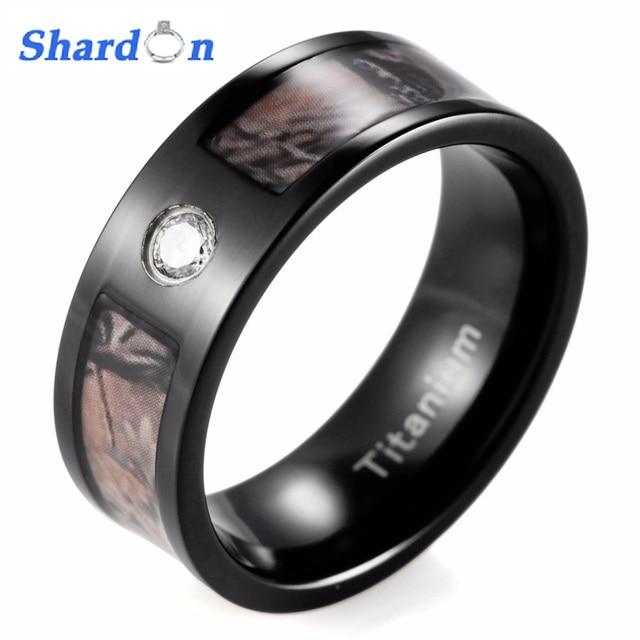 SHARDON 8mm Mens Black Camo Wedding Ring Black Titanium Realtree