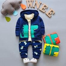 BibiCola/комплект одежды для маленьких мальчиков, куртка с капюшоном для мальчиков + футболка + штаны, 3 шт., осенний комплект одежды для новорожденных, комплекты для малышей