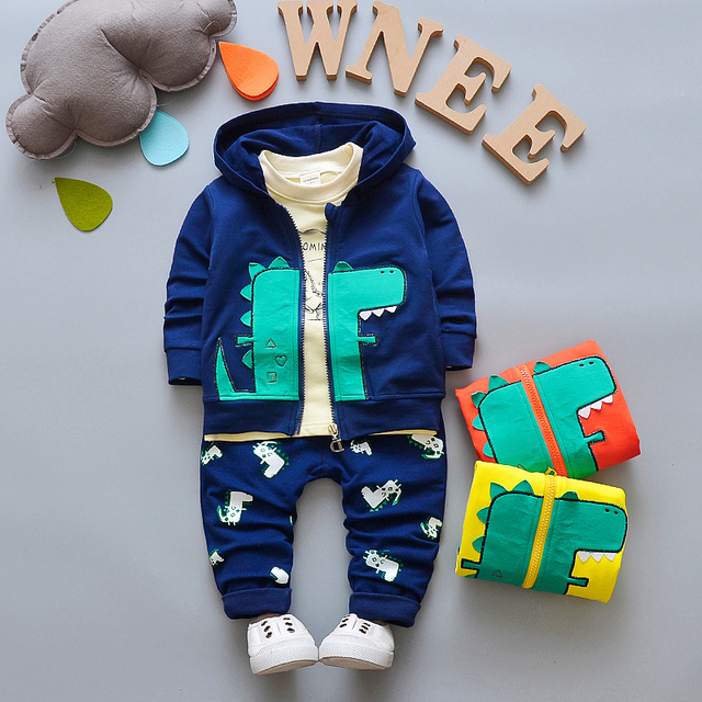 ac2eacfb9 BibiCola baby boys Clothes set Boys Hoodie Jacket+Tshirt+Pants 3PCS ...