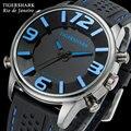 TIGERSHARK Мужчины спортивные часы аналоговый цифровой синий светодиод кварцевые плавать водонепроницаемый черный резиновый наручные часы relogio masculino рио