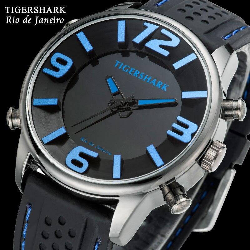adc7b1acee6 TIGERSHARK Men Sports Relógios Analógico Digital Led Azul Nadar Rio À Prova  D  Água relógios de Pulso de Borracha Preta de Quartzo Relogio masculino em  ...