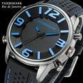 TIGERSHARK Men sports relógios analógico digital led azul nadar rio à prova d' água relógios de pulso de borracha preta de quartzo relogio masculino