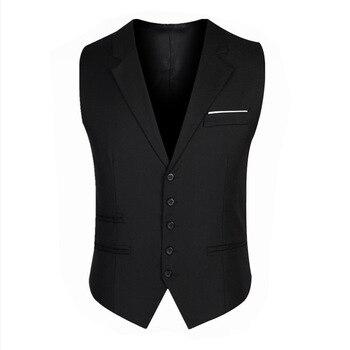 Men's Slim Vest Business Gentleman Lapel Solid Color Groom Slim Suit Vest Best Man Nightclub British Wind Men's Small Vest