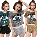 Female Eyes Sequined Embroidery Short T-shirt Summer Women Fashion O-neck Nightclub Dance Costumes Cropped Punk Tee Tops 2017