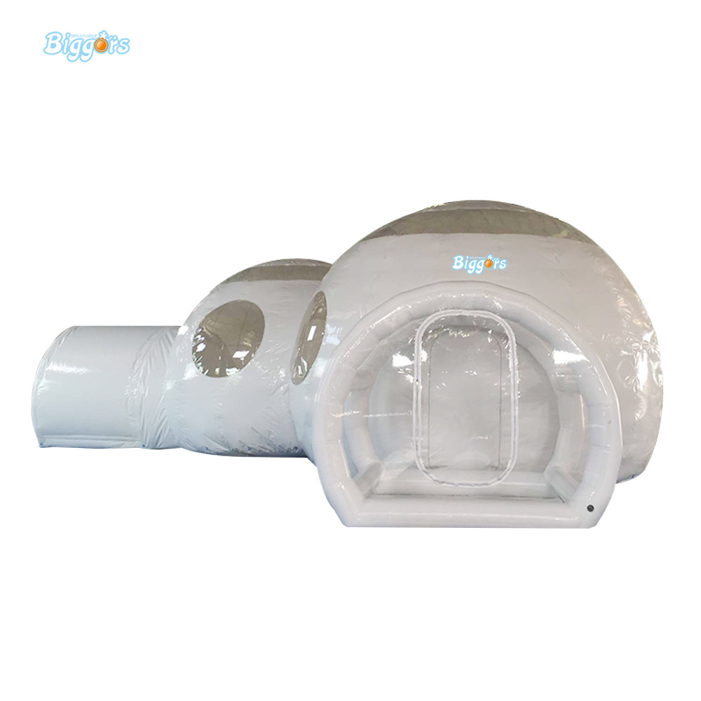 Transparent Inflatable Camping Tent Inflatable Dome Bubble Tent With 2 Rooms And 2 Tunnel For Sale pvc bubble inflatable tent transparent camping tent hot large inflatable tent inflatable ball tent