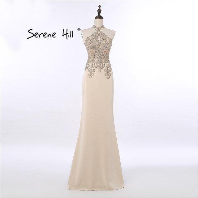 Elegant High Neck Champagne Evening Dresses Crystal Lace Mermaid Formal  Dress Dubai Arabic Vestido De Festa Longo BLA6118 24ce7d6ff9cf