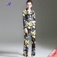 2017 Moda Rahat Pist Tasarımcısı Suit set kadın Uzun Kollu Vintage Çiçek Yazdır Turn Down Yaka Bluz + pantolon Ücretsiz DHL