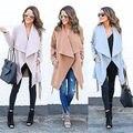 2016 Mujeres Moda Cálida Capucha Larga Trench Cazadora Outwear estilo casual escudo