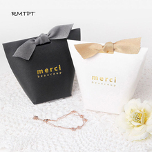 RMTPT 50pcs/lot Upscale Black White Kraft Papel Merci Gift Box  Wedding Favors Candy Bag Package Birthday Party Favor Boxes