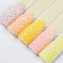 FOUR LILY Sandy Glitter Chameleon Pigment Dust Holographic Nail Sugar Powder Candy Pink Color Manicure Art Decoration 1 PC