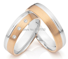 luxury tailor made  rose gold colour titanium jewelry wedding rings sets for wedding