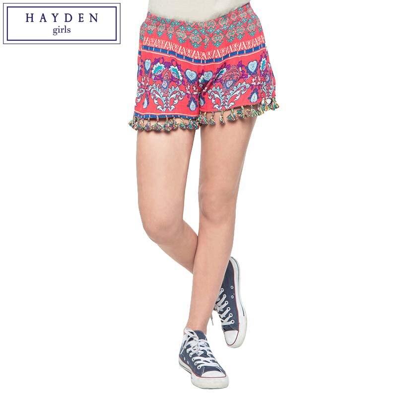 ФОТО HAYDEN Girl Shorts Summer Kids Girls Elastic Mid Waist Vintage Print Bohemian Style Tassel Shorts Teenagers Short Pants 2017