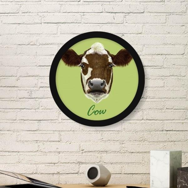 Panda Vache Cheval Chien Poisson Animal Pet Image Ronde Cadre Art Imprime Peintures Accueil Sticker Cadeau