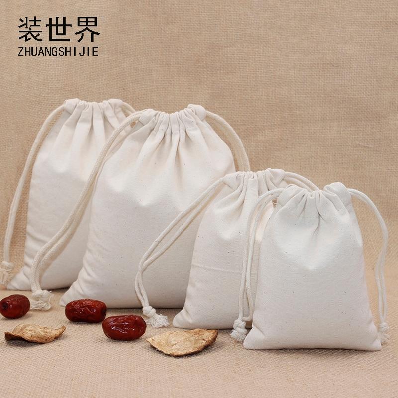 20*23.5cm 10oz Multi-purpose Wholesale Cotton Canvas Drawstring Bag Custom Logo Print Food Packing Christmas Gift Bag