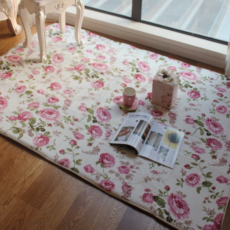 Romantic Floral Room Floor Mats,Sweet Rose Print Carpets For Living Room Modern,Designer Shabby Style Flower Rug Decorative