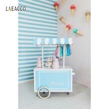 Laeacco Sweets Cake Ice Cream Cart House Baby Children Birthday Scene Photography Background Photographic Photo Backdrop Studio
