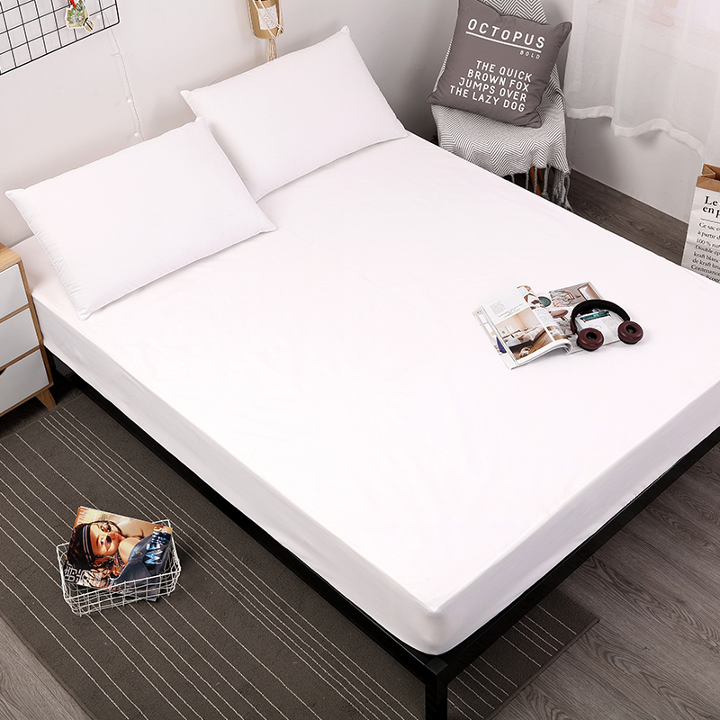 MECEROCK Solid Color Bed Mattress Cover Waterproof Mattress Protector Pad Fitted Sheet Separated Water Bed Linens with Elastic