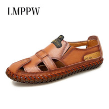 Italian Genuine Leather Sandals Men Summer Shoes Handmade Breathable Top Quality Men Leather Sandals Soft Bottom Beach Slippers цена 2017