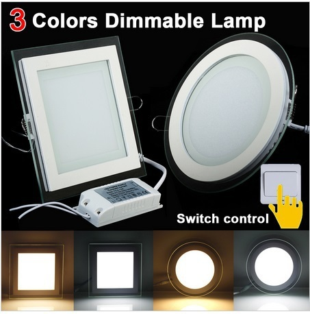 Downlight Led Dimmable 6W 12W 18W LED Panel Lamp Square Glass Cover Lights Led Ceiling Recessed Lamp 3 Color 10pcs/lot