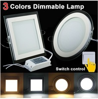2015 Dimmable 6W 12W 18W LED Panel Downlight Square Glass Cover Lights High Bright Ceiling Recessed