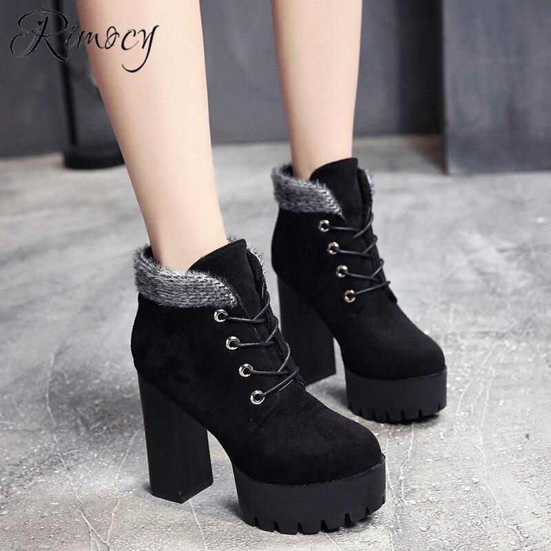 55cdda215 De Caliente Negro Super Rimocy Moda Señoras Botines Mujer Mujeres Felpa Botas  2019 Tacones Zapatos Nueva ...