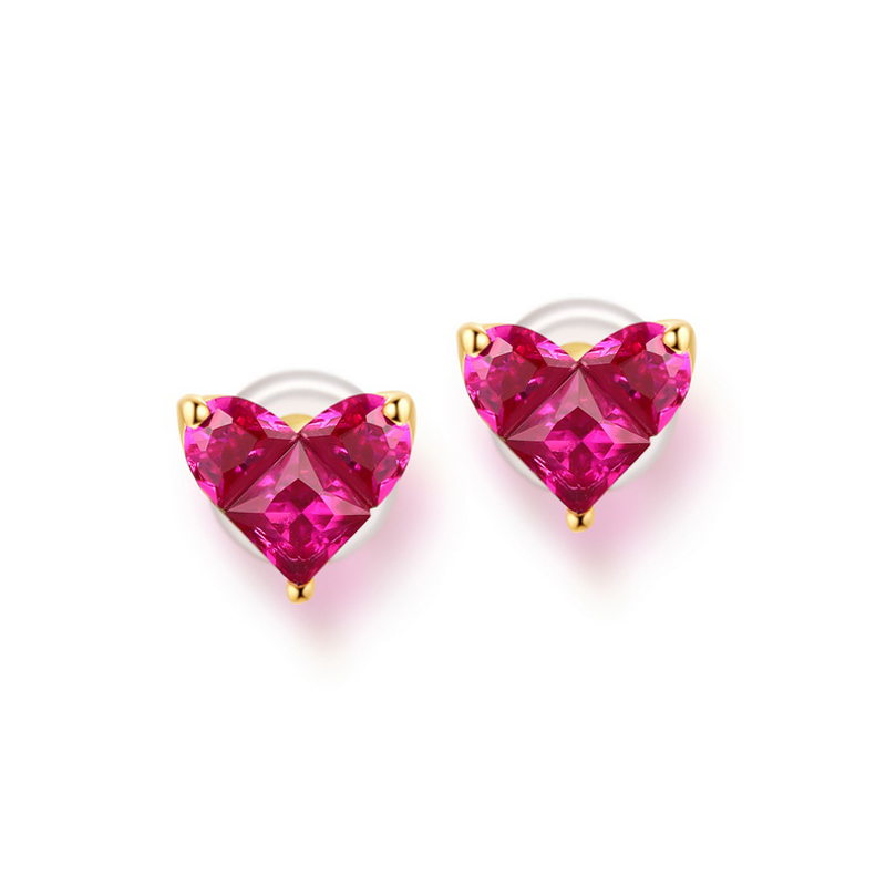 JXXGS Jewelry 14K Gold Real Red Corundum Earrings Heart Shape Stud Earrings For Women