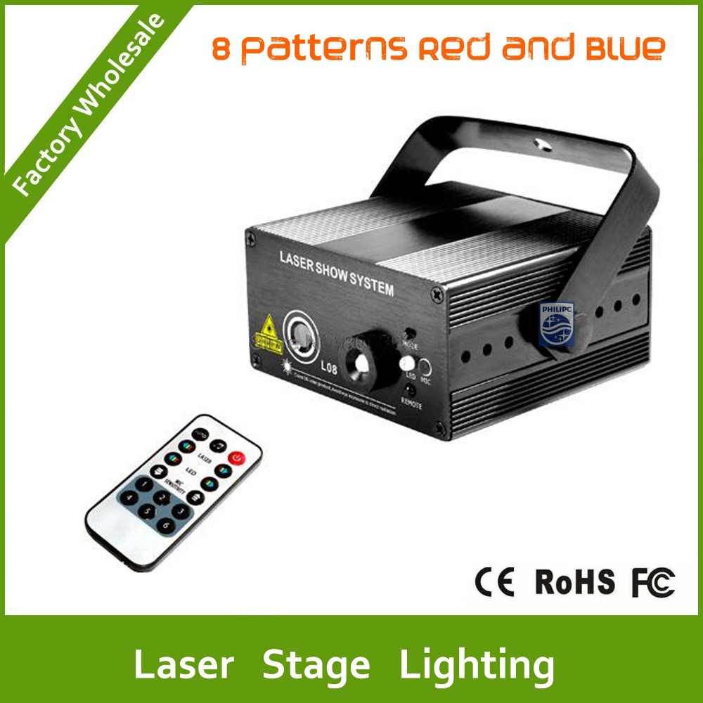 DHL Free Shipping New Modell Red Blue 8 Patterns Laser Projector Blue Led Remote Stage DJ