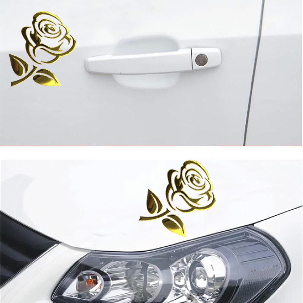 3D Golden - Silver Flower Car Stickers