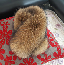 Leather fur scarf jacket collar ladies winter coat animal luxury raccoon warm clothing ne