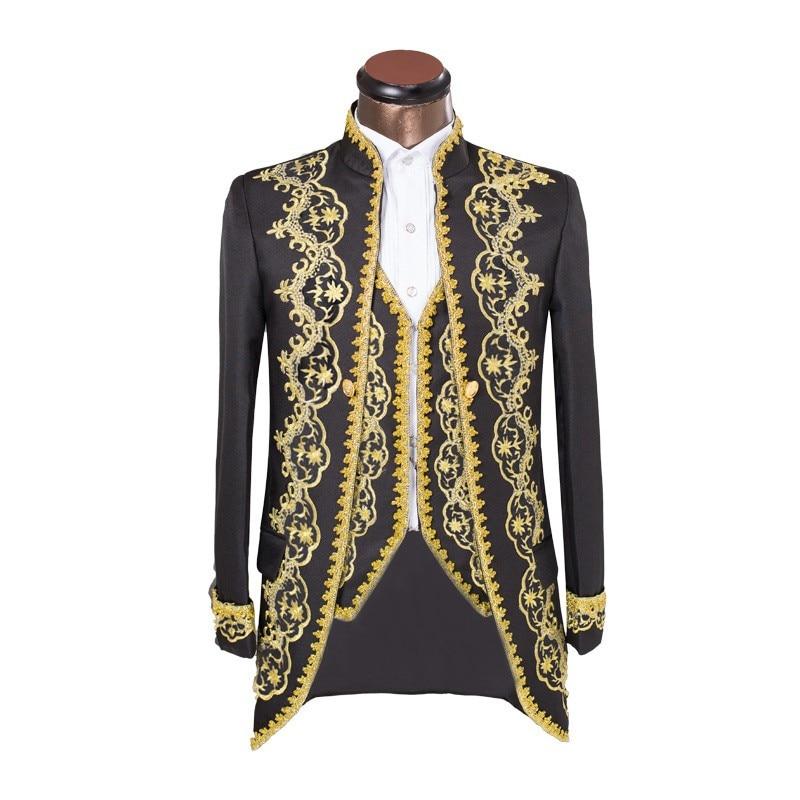 HB068 (Jacket+Pants+Vest) Design Male Suits Sequins Embroidered Rhinestone Male Host Wedding Dress Man Singer Dancer Costume