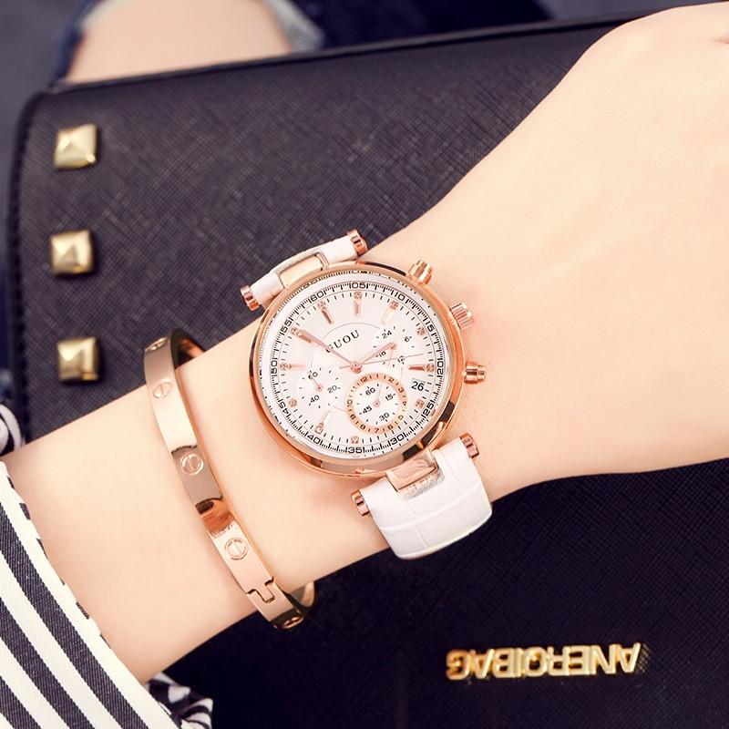 Women leather rhinestone Crystal Diamond Quartz-watch GUOU Luxury Brand Ladies waterproof calendar watch Montre Femme relogio