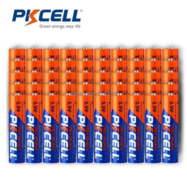 100 Uds Batería alcalina PKCELL 1,5 V LR03 AAA batería de único uso para cámara, calculadora, despertador, ratón, control remoto