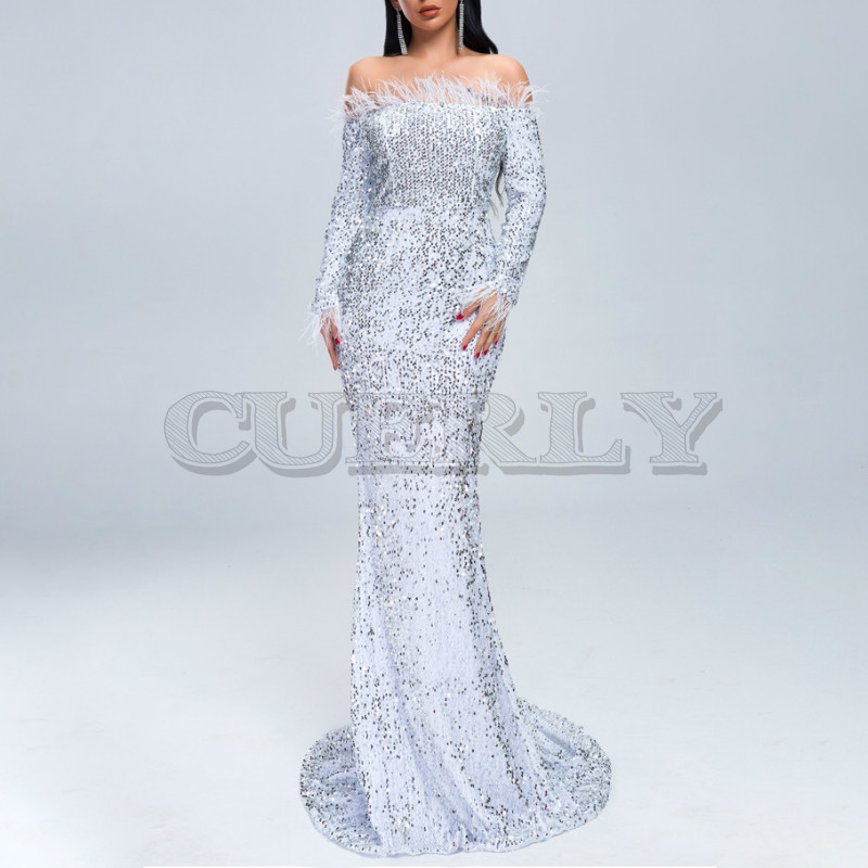 Cuerly 2019 Women Sexy Off Shoulder Feather Long Sleeve Sequin floor length Evening party Maxi Reflective Dress Vestdios in Dresses from Women 39 s Clothing
