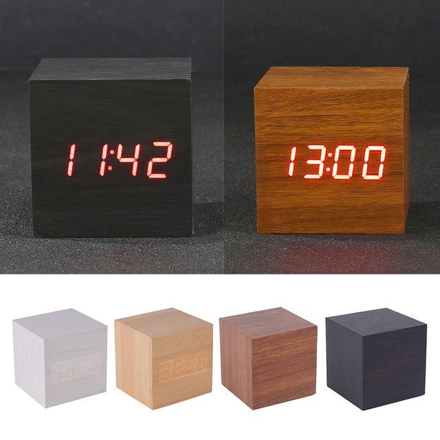 Simple Wood Cube Click Clock Gift Led Display Alarm Clock Sound