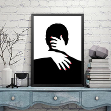 Black White Stripe Canvas Painting Lovers Abstract Wall Picture Modern Girl Print Poster Room Decor HD2260