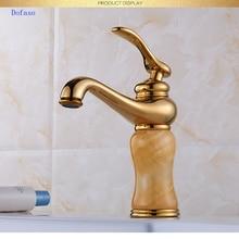 Dofaso luxury bath golden jade faucet Brass Jade Body 360 Degree Swivel Bathroom Basin Faucet Hot&Cold Water Mixer Tap