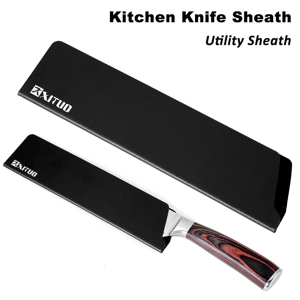 XITUO Kitchen Knife Sheath-Tool Paring-Knives Black Santoku Slicing Vegetable New 8-7-6-5-2PC