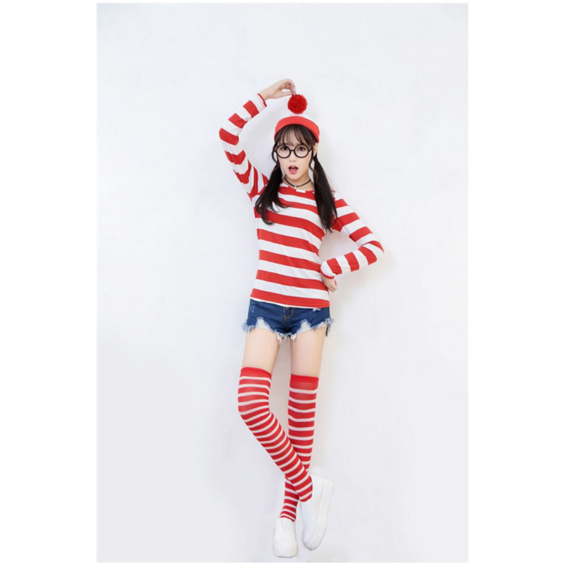 Where's Wally Waldo Characters Cosplay Costumes For Man Woman Children Couples Halloween Christmas Party