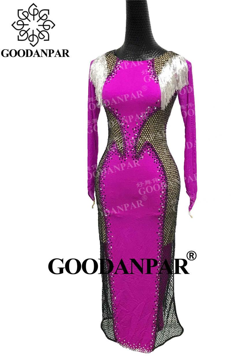 GOODANPAR Hot femmes dames à manches longues dentelle queue de cheval danse latine robes de compétition Tube de perles Standard Rumba Salsa Costume