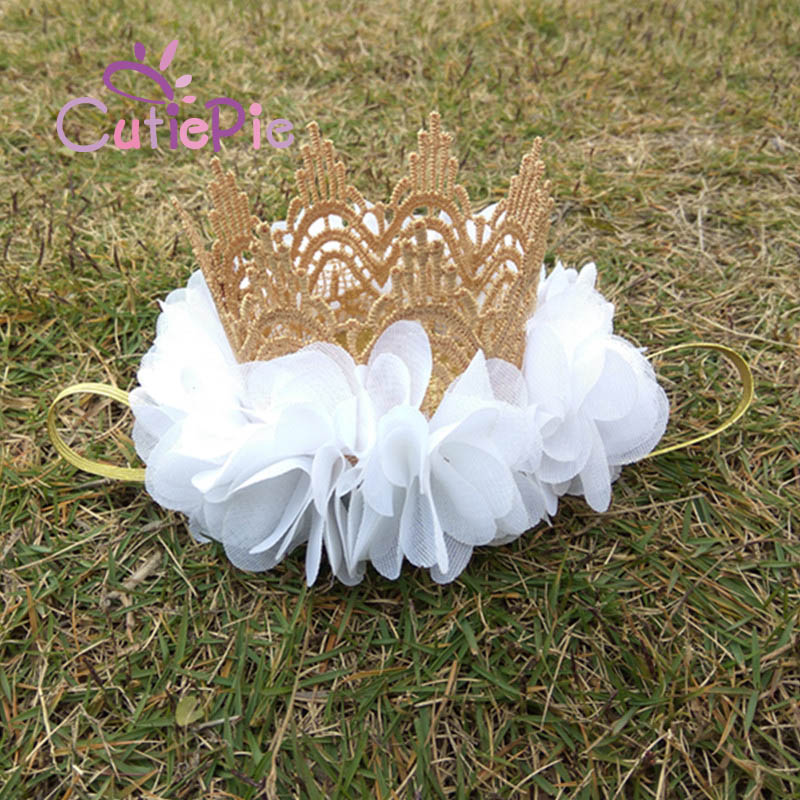 6Colors Mini Felt Glitter Gold Lace Crown Headbands With Pretty Flowers Birthday Party DIY Crafts Hair Decorative Accessories