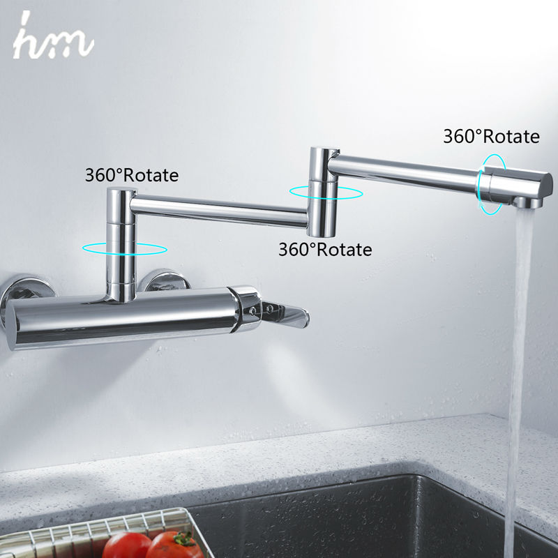 Hm Swivel Kitchen Sink Faucet Single Handle Mixer Tap Chrome Finish Pot Filler Faucet 100% Brass Folding Wall Mount 360