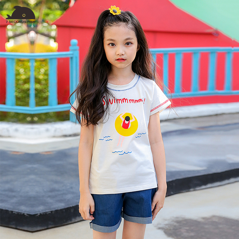 girls summer sets 2018 new  print t shirt + jeans pants children sport sets 7 seconds fish brand high  quality colorful brand large size jeans xl 5xl 2017 spring and summer new hole jeans nine pants high waist was thin slim pants