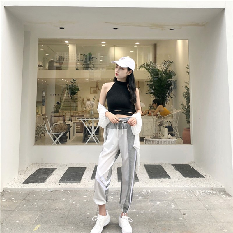 Women's Sets summer new black fashion sexy wild hanging neck vest + high waist loose harem pants two sets of women 6