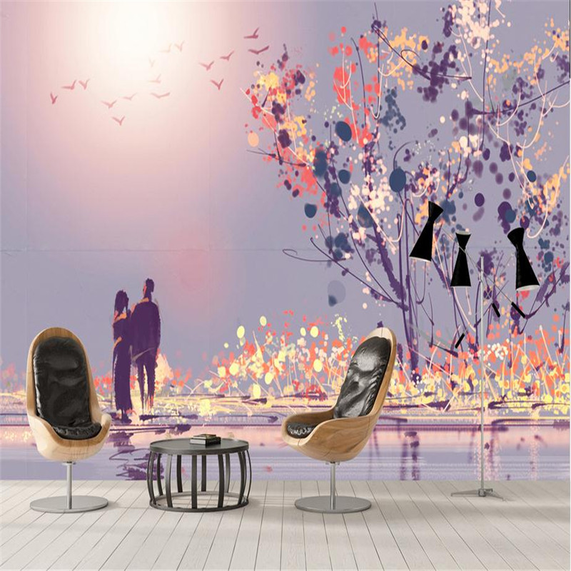 3d high quality modern custom photo wallpaper large romantic wall mural living room bedroom background sunset purple wallpaper book knowledge power channel creative 3d large mural wallpaper 3d bedroom living room tv backdrop painting wallpaper
