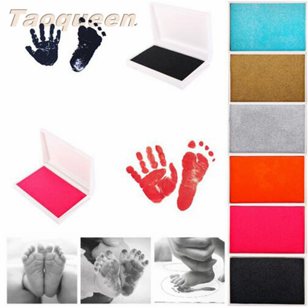 Taoqueen Non-toxic Newborn Souvenirs Casting Ink Pad Infant Clay Toys  Baby Handprint Footprint Imprint Kit Inkpad Cute Gifts