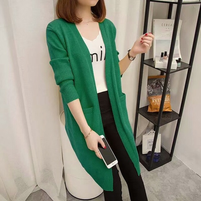 43085174aa2 US $19.79 34% OFF|2018 new Spring Autumn Sweater Women Long Cardigan  Pockets Loose Knit Sweater Female Green Yellow Oversized Sweaters Tops  Coat-in ...