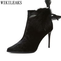 Velvet Boots Ankle Boots For Women Winter Boots Fetish High Heels Ladies Feather High Heel Boots