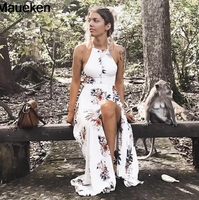 2018 maxi dresses vestidos Floral print halter chiffon long dress Women backless Sexy white split beach summer dress