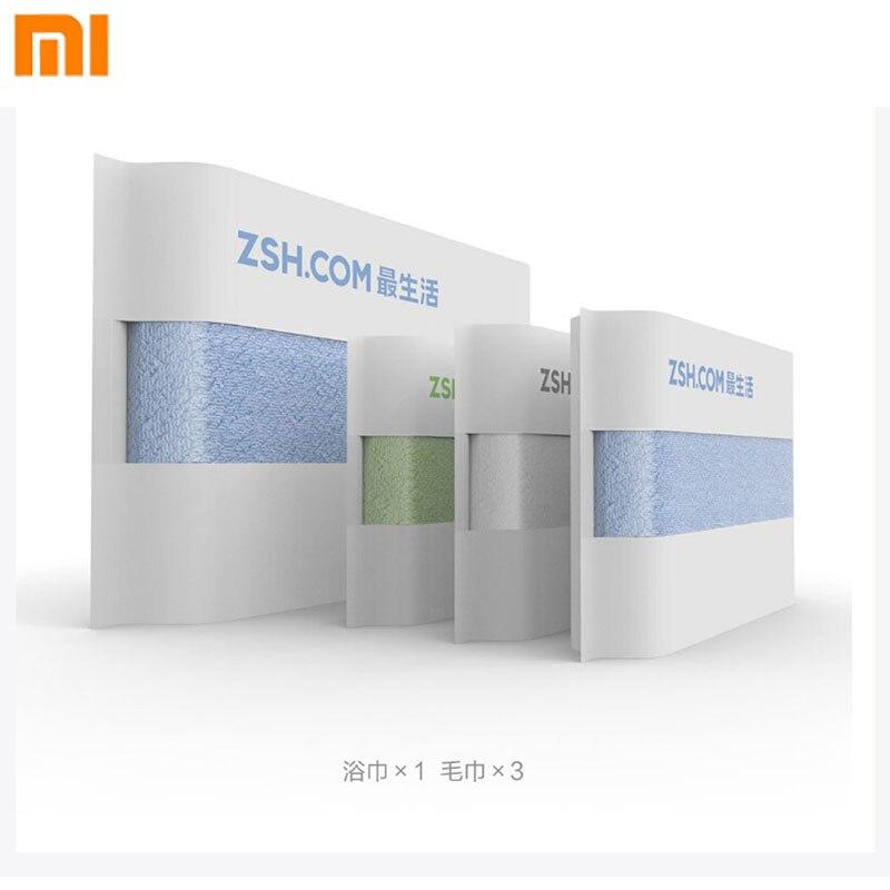 4pcs sets Original Xiaomi ZSH Bathroom Towels 3 Antibacterial Towel and 1 Bath Towel Mijia Towel