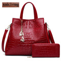 Brand Crocodile Composite Bag Luxury Handbags Women Bags Designer Alligator Leather Pu Woman Crossbody Bag Black Tote Bags 2017